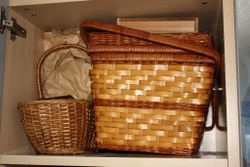 F 6 shelf with 2 baskets, cookie tins and embrodiery supplies