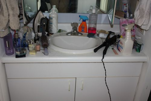 Messy masterbath counter
